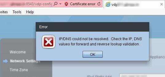 VDP DNS Error